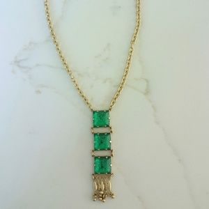 Emerald and Gold Adjustable Necklace